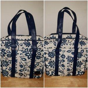 ROXY VINYL BLUE/WHT FLOWER PATTERN BEACH TOTE BAG